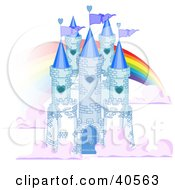 Blue Stone Castle In The Clouds With Flags And A Rainbow
