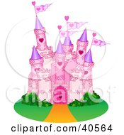 Clipart Illustration Of A Pink Stone Castle With Flags And Green Landscaping by Pushkin