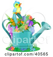 Clipart Illustration Of A Cute Bird Perched Over Flowers In A Watering Can