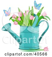 Clipart Illustration Of Butterflies Landing On Pink Tulips In A Watering Can