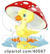 Poster, Art Print Of Cute Yellow Duckling Strolling Under A Mushroom Umbrella On A Rainy Spring Day