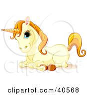 Resting Cute Yellow Unicorn With Blue Eyes Orange Hair And A Golden Horn