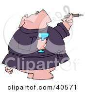 Clipart Illustration Of A Wealthy Pig In A Robe Drinking Champagne And Smoking A Cigar