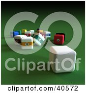 Clipart Illustration Of A Square 3d Cue Ball Near Scatted Square Billiards Balls On Green