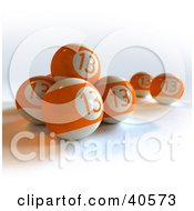 Clipart Illustration Of Orange Lucky Thirteen Pool Balls by Frank Boston