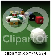 Clipart Illustration Of A 3d Cue Ball On Green With Square Billiards Balls
