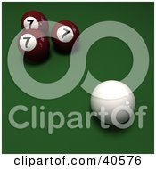 Clipart Illustration Of A Cue Ball Near Three Red Lucky Number 7 Billiards Balls On Green