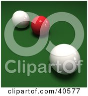 Clipart Illustration Of A Red 3d Snooker Ball Between Two Cue Balls On Green