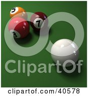 Clipart Illustration Of A 3d Cue Ball Near Red Orange And Maroon Billiards Balls On Green