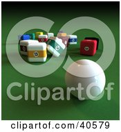Clipart Illustration Of A 3d Cue Ball On Green With Square Pool Balls by Frank Boston
