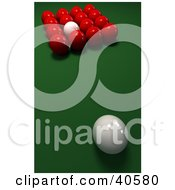 Clipart Illustration Of A White Cue Ball Prepared To Break A Group Of Red Snooker Balls by Frank Boston