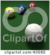 Clipart Illustration Of A 3d Cue Ball Near Yellow Blue And Red Pool Balls On Green by Frank Boston