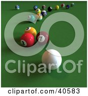 Clipart Illustration Of A 3d Cue Ball On Green Velvet With Colorful Billiards Balls