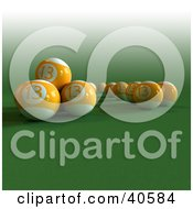 Clipart Illustration Of Orange 3d Lucky Number Thirteen Billiards Balls On Green by Frank Boston