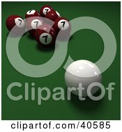 Clipart Illustration Of A Cue Ball Near Seven Red Lucky Number 7 Billiards Balls On Green
