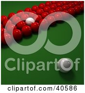 Clipart Illustration Of A White Cue Ball Mixed In With Rows Of Red Snooker Balls On A Billiards Pool Table by Frank Boston