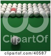 Clipart Illustration Of One Red Snooker Ball Mixed In With Rows Of 3d Cue Balls On Green by Frank Boston