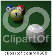 Clipart Illustration Of A 3d Cue Ball Near Yellow Blue And Red Billiards Balls On Green by Frank Boston