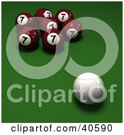 Clipart Illustration Of A Cue Ball Near Red Lucky Number 7 Billiards Balls On Green