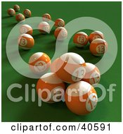 Clipart Illustration Of Orange 3d Lucky Number Thirteen Pool Balls On Green by Frank Boston