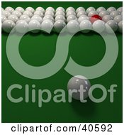 Clipart Illustration Of One Red Snooker Ball In Rows Of 3d Cue Balls On Green by Frank Boston