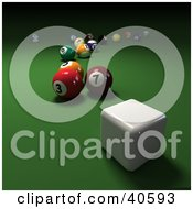 Clipart Illustration Of A Square 3d Cue Ball Near Scatted Billiards Balls On Green by Frank Boston