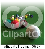 Clipart Illustration Of A 3d Cue Ball Near Scattered Billiards Balls On Green by Frank Boston