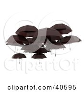 Clipart Illustration Of A Group Of Black Floating Umbrellas