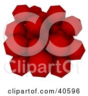 Clipart Illustration Of An Aerial View Of A Group Of Red Huddled Umbrellas