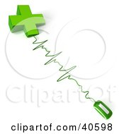 Clipart Illustration Of A Green Computer Mouse Connected To A Cross With Monitor Waves