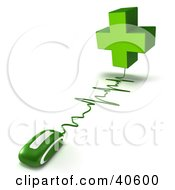 Clipart Illustration Of Green Heart Monitor Waves Connecting A Computer Mouse To A Cross by Frank Boston