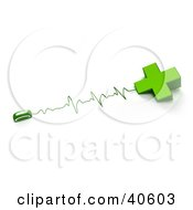 Clipart Illustration Of A Green Computer Mouse Connected To A Cross With Heart Monitor Waves