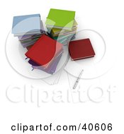 Clipart Illustration Of A Pen And Piece Of Paper By Stacks Of Colorful School Books