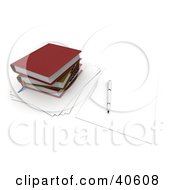Clipart Illustration Of A Pen Resting On A Blank Piece Of Paper By A Stack Of School Books