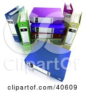 Clipart Illustration Of A Stack Of 3d Colorful Ring Binders With Upright Folders On The Sides by Frank Boston