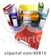 Clipart Illustration Of A Red 3d Binder In Front Of A Stack Of Colorful Binders