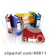Clipart Illustration Of 3d Colorful Binders by Frank Boston