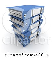Clipart Illustration Of A Stack Of 3d Ring Binders With Blank Labels by Frank Boston #COLLC40614-0095