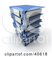 Clipart Illustration Of Stacked Blue 3d Binders With Blank Labels