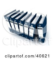 Clipart Illustration Of A Row Of 3d Navy Blue Binders With Blank Labels