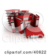 Clipart Illustration Of An Unorganized Group Of Red Binders With Blank Labels by Frank Boston