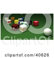 Clipart Illustration Of A 3d Cue Ball Resting Near Square Billiards Balls On Green by Frank Boston