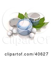 Containers Of Facial Cream Over Mint Leaves With White Pearls
