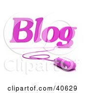 Clipart Illustration Of A Pink 3d Computer Mouse Connected To Blog Text