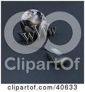 Clipart Illustration Of A 3d Computer Mouse Wired To A Blue Globe And The Word WWW by Frank Boston