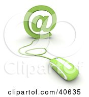 Clipart Illustration Of A Green 3d Computer Mouse Connected To An Arobase At Symbol
