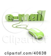 Clipart Illustration Of A Green 3d Computer Mouse Connected To Email Text by Frank Boston