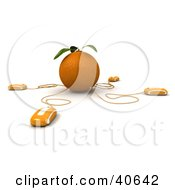 Clipart Illustration Of 3d Computer Mice Connected To An Orange