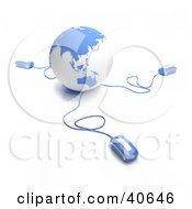 Clipart Illustration Of 3d Computer Mice Connected To A Light Blue Globe