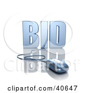 Clipart Illustration Of A Blue 3d Computer Mouse Connected To A Bid